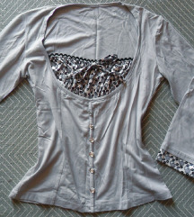 M - Új szürke, pöttyös mintás felső, póló