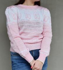 Vintage rózsaszín kötött pulóver...válltömássel