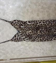 Barna leopárdmintás flitteres pántos ruha