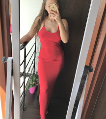BOOHOO piros alkalmi bodycon ruha ÚJ