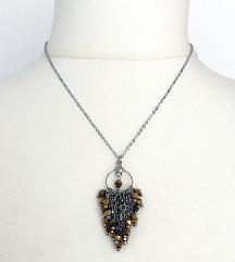ÚJ nyaklánc +fülbevaló bronz kristállyal
