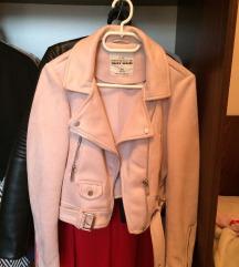 Tally velúr halvány rózsaszín bőrkabát