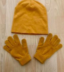 Újszerű Orsay mustár sárga sapka és kesztyű