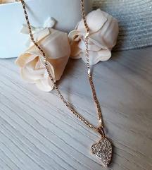 Gold filled antiallergén nyaklánc szív medállal