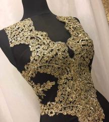 Rabocsi ihlette egyedi fekete arany alkalmi ruha