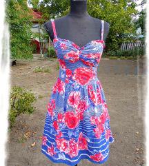 Be Beau Romantikus,csíkos-rózsás ruha