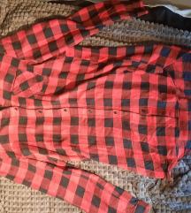 Fekete piros hosszú kockás ing