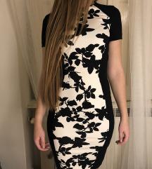 h&m új alkalmi virágos nyári ruha fekete fehér