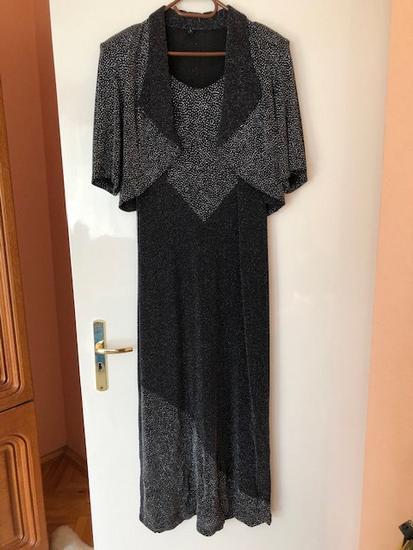 Fekete ezüst csillogós gyönyörű alkalmi női ruha