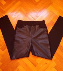 Fekete bőr, bőrbetétes leggings/nadrág M- L