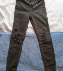 Khaki színű szaggatott nadrág