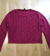 Bordó virágmintás pulóver