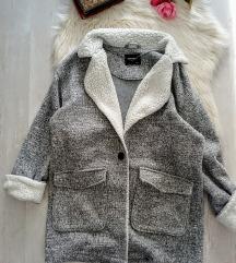 Pull&Bear szürke szövet/teddy kabát L