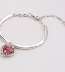 Karkötő - ezüst + piros szív medál