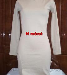 Új női bézs garbós,fevágott alkalmi midi ruha