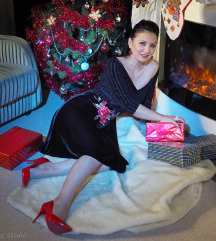 Fekete bársony Karácsonyi ruha S