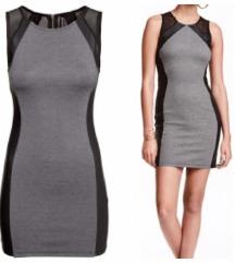 H&M mesh bőrbetétes ruha XS