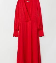 H&M piros jacquard midi ruha