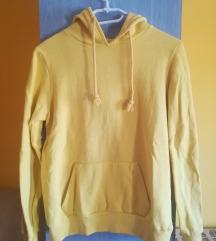 Sárga kapucnis belebújós pulóver