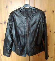 Egyedi tervezésű valódi bőr fekete női kabát (42)